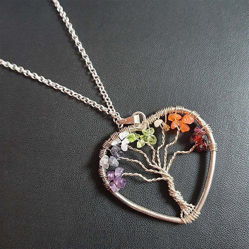 Multicolor tree heart Pendant