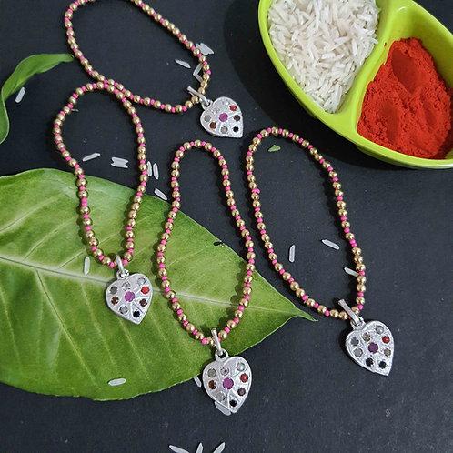 Navratan Heart 2 in 1 rakhi bracelet