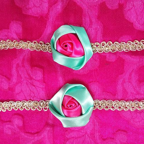 Pink & green rose Rakhi for Bhabhi