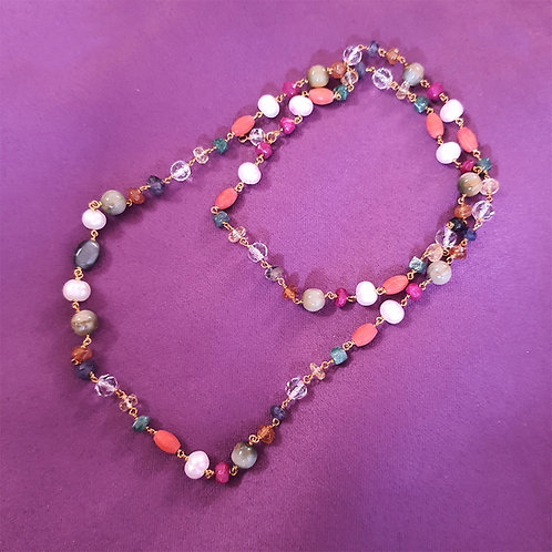 Multicolor bead long Neck Chain