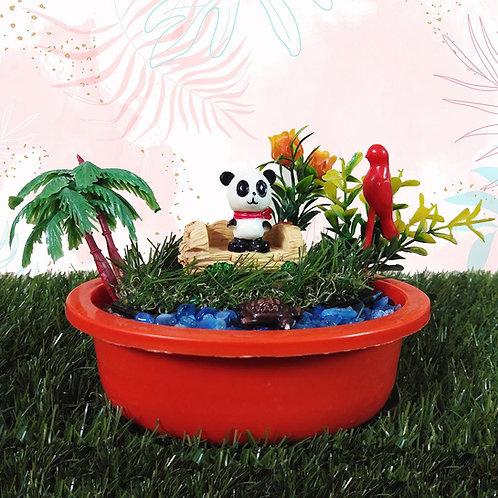 Fluffy panda Miniature garden