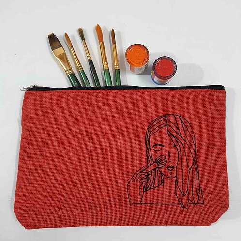Rosy Red Jute pouch