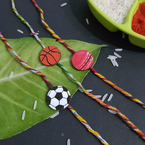Handpainted wooden ball rakhi set