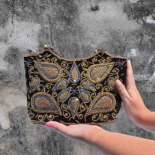 Black embroidered handbag