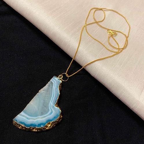 Sea glass Agate stone pendant chain