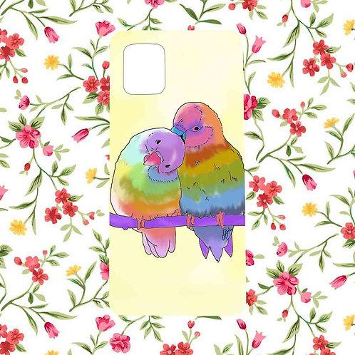 Colorful love birds mobile case