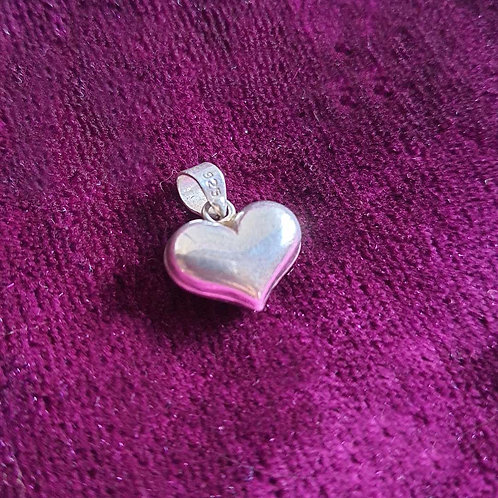 Solid heart Silver pendant