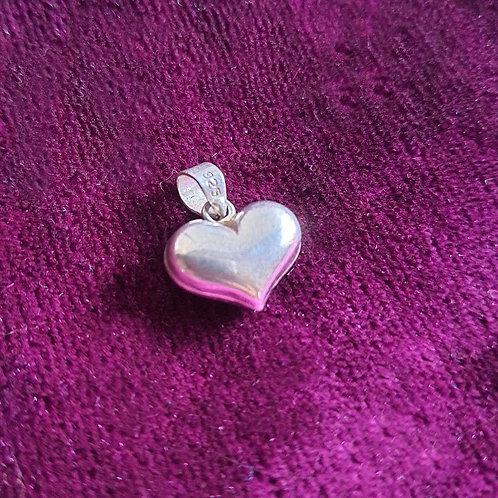 Solid heart Silver pendant