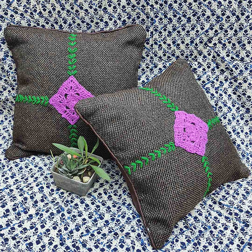 Crochet Jute cushion cover set