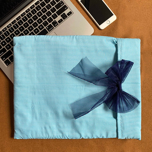 Blue stripes Laptop Cover with bow