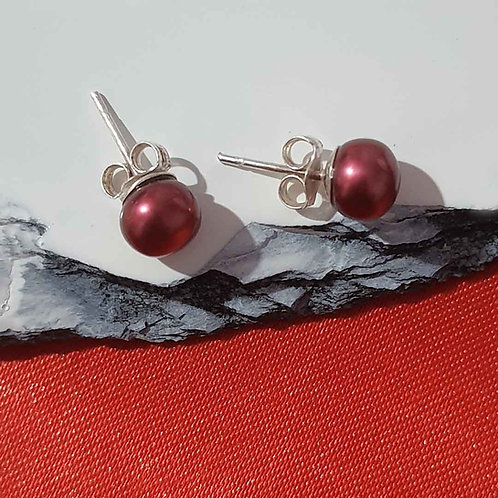 Sterling Silver red pearl studs