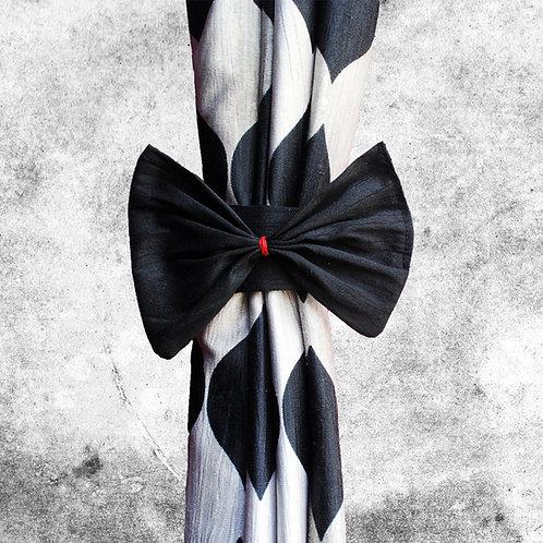 Black raw silk Curtain Tiebacks