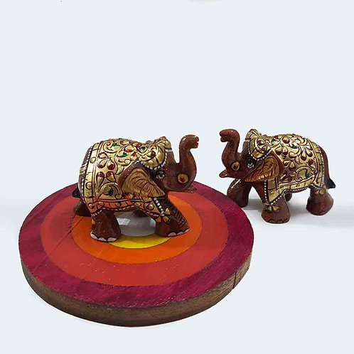 Rajasthani elephant pair with coaster