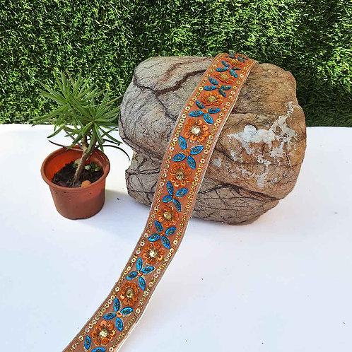Glittering orange floral belt