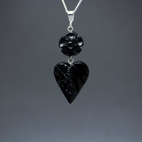 Forget-Me-Not and Heart Pendant