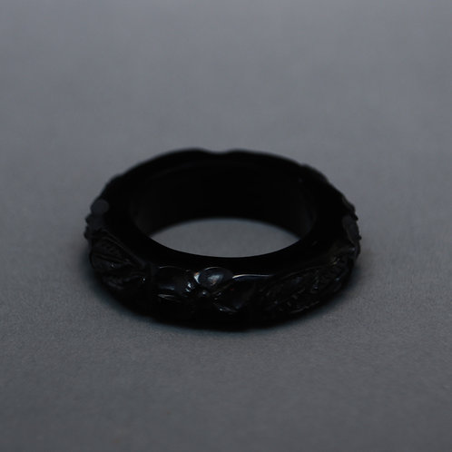 Solid Jet Forget-Me-Not Ring