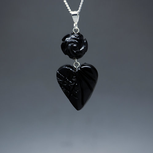 Rose and Heart Pendant
