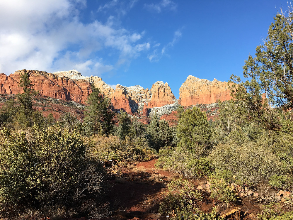 Snow on the red rocks of Sedona
