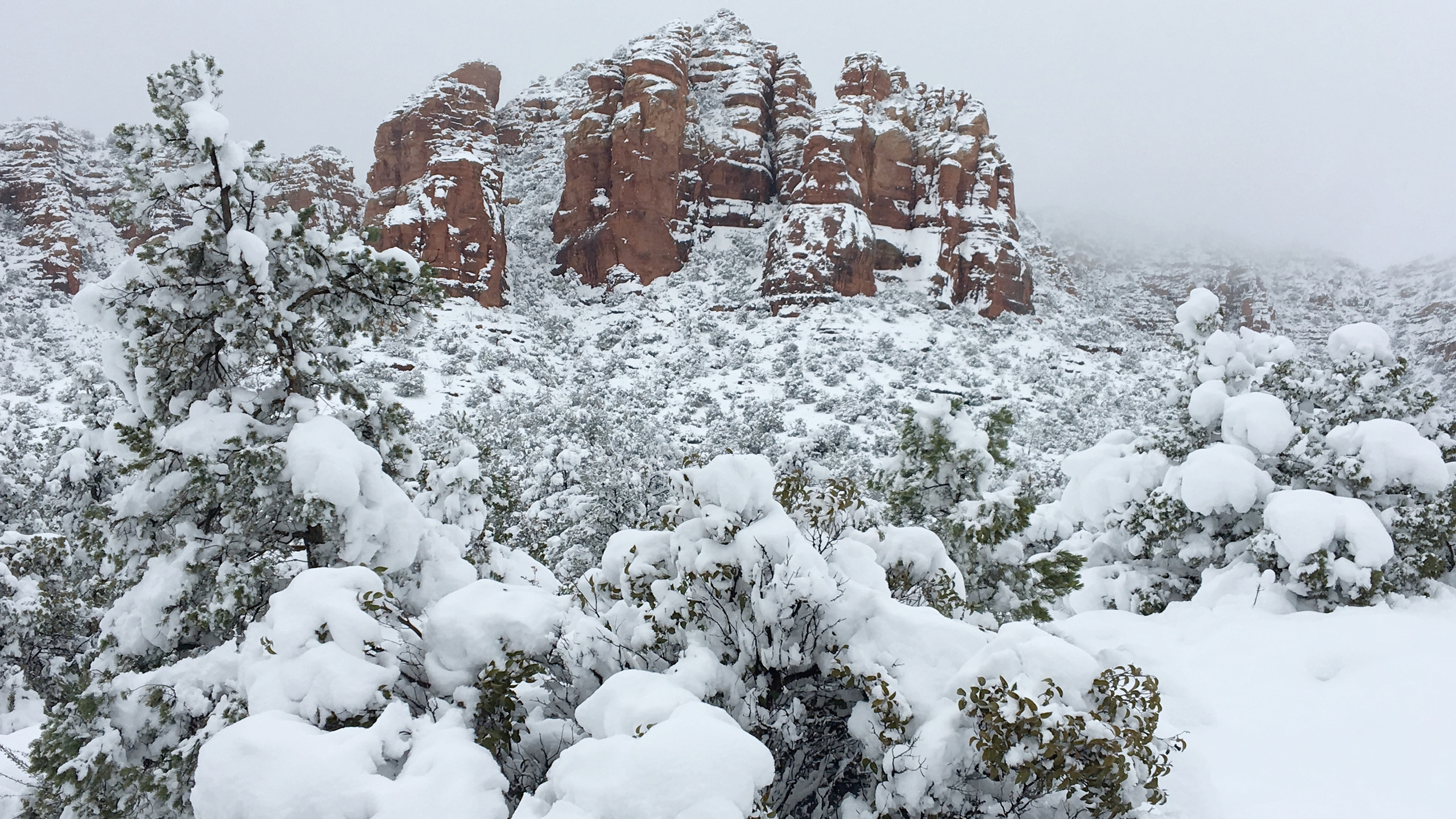 Epic snowfall on Cathedral Rock
