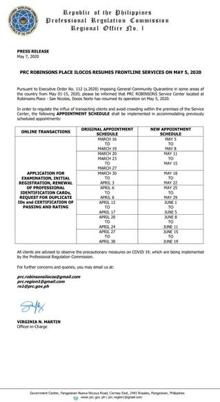PRC Region 1-Press Release on Resumption of Frontline Services in PRC Ilocos Norte