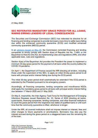 SEC reiterates mandatory grace period for all loans, warns erring lenders of legal consequences