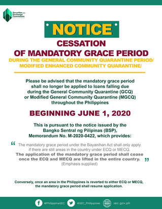 UPDATE ON MANDATORY GRACE PERIOD FOR LOANS