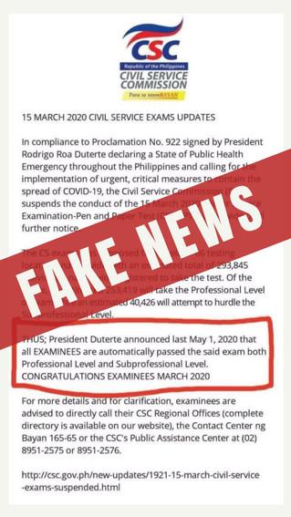 CSC warns public on circulation of fake news