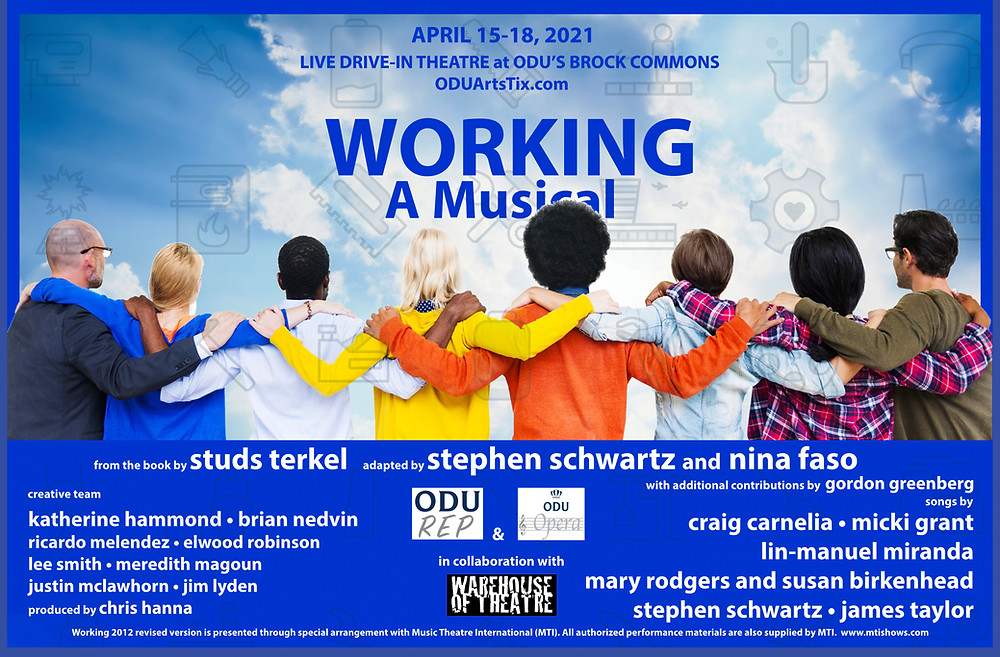 The poster for Working the Musical, with people all standing with their arms around each other's shoulders staring away from the camera.