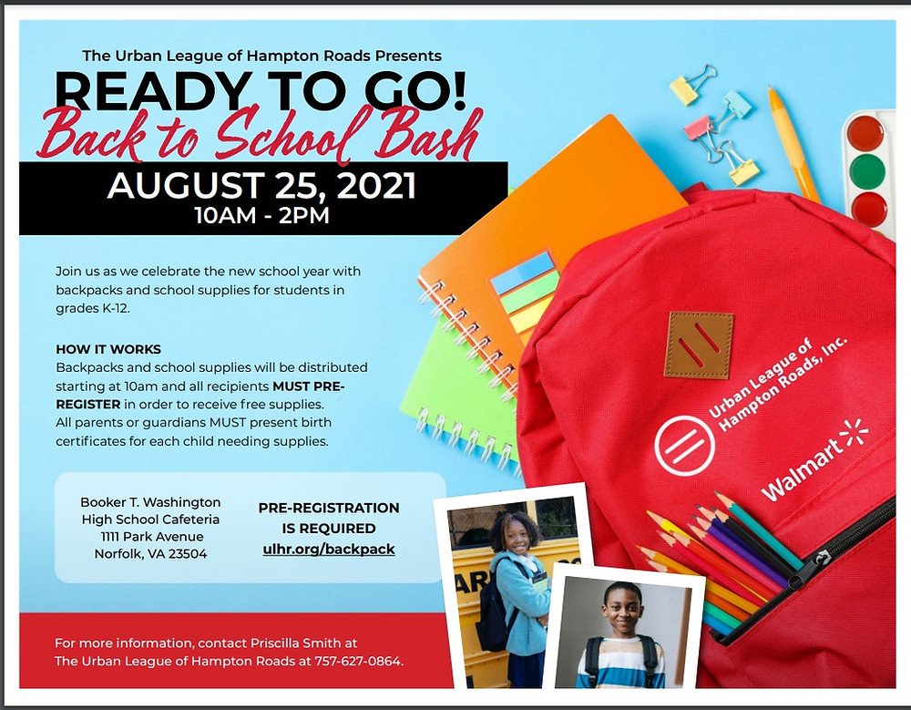 Urban League of Hampton Roads Back to School Bash Ad, information in article.