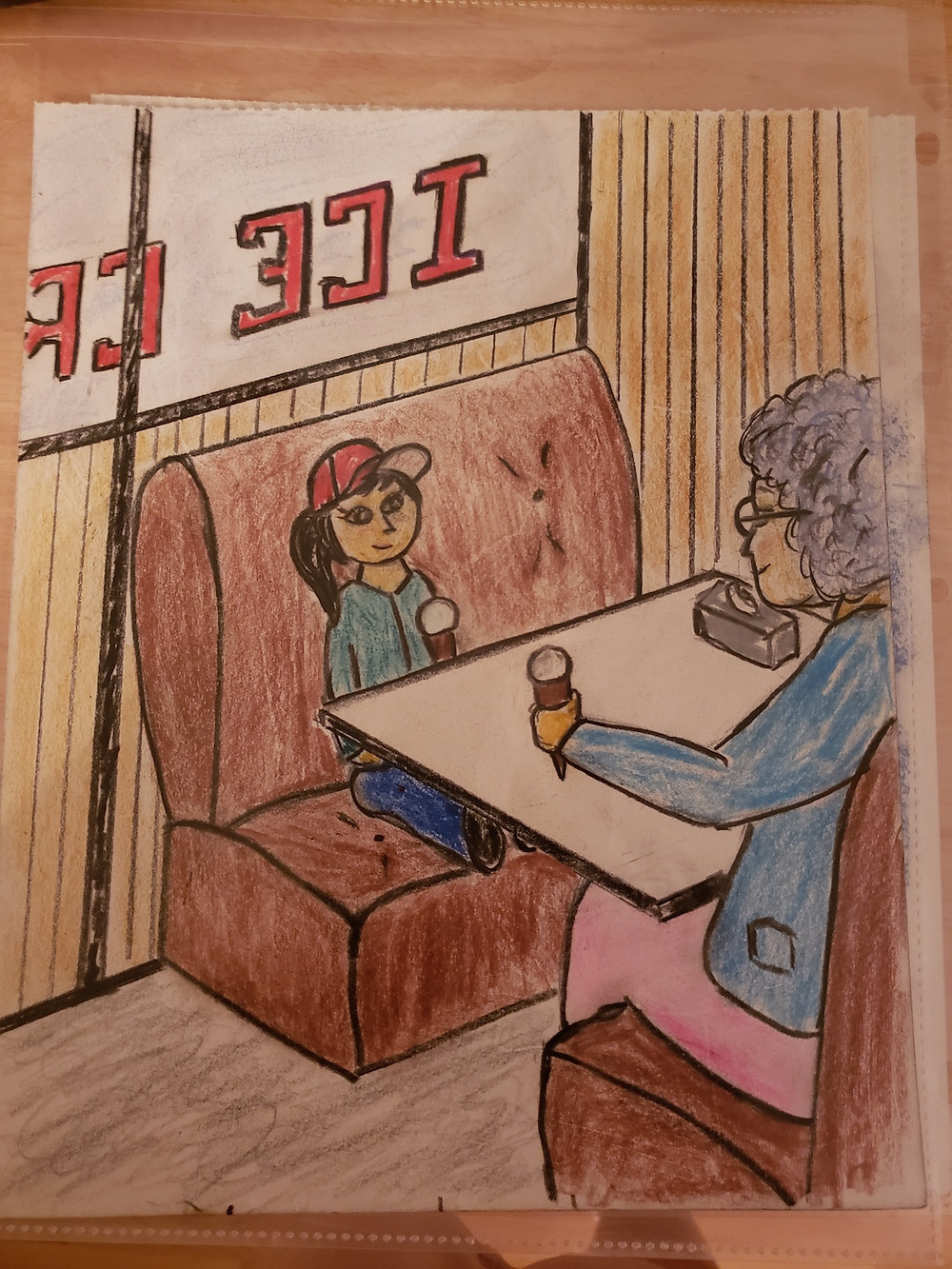 a drawing of a grandmother and granddaughter having ice cream in a restaurant booth.