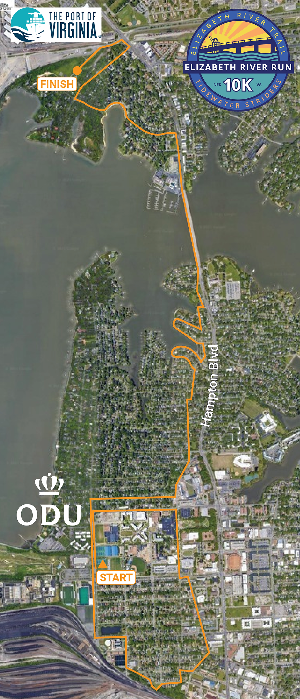 The race course (a yellow line on a satellite image of Norfolk with the logo from above and one from the Port of Virginia in the corner. The course appears to begin up around 43rd St on the ODU campus, loop around as far south as 25th before coming up Hampton Blvd to end in a field on Commonwealth Ave, which is just North of the Hermitage Museum.