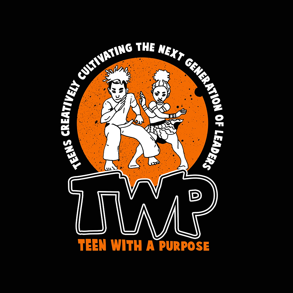 Black background with an orange circle. In the circle are 2 cartoon teenagers who look like they are dancing. TWP Teens creatively cultivating the next generation of leaders.