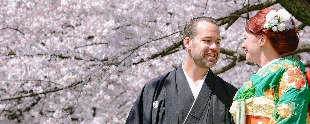 Destination Elopement in Japan - couple wearing kimonos