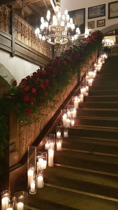Rampe d'escaliers fleurie