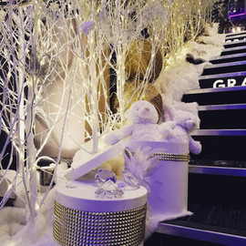 Détail décoration de Noël blanche et or
