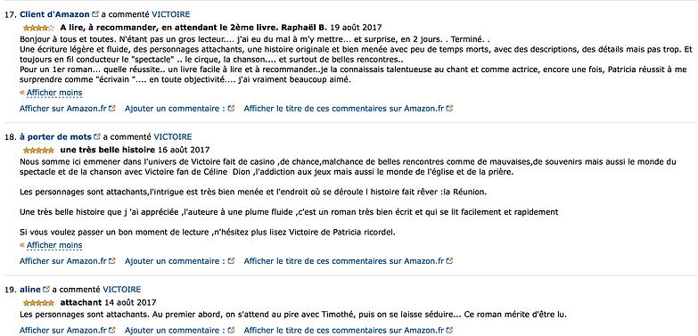 Commentaires des lecteurs de Victoire, roman de Patricia Ricordel
