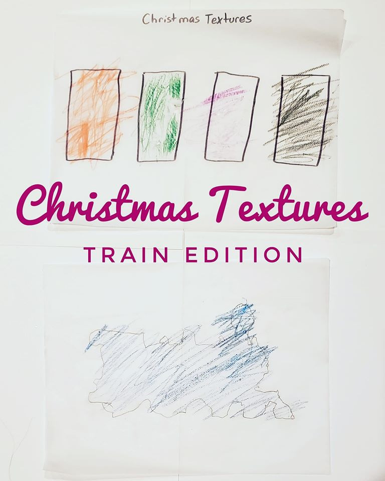 A picture of the texture activity, but made with a student's tracing of a train, rather than a Christmas tree.