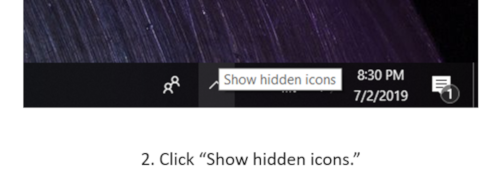 "A screenshot that shows clicking on the ""show hidden icons"" button at the bottom of a computer screen."