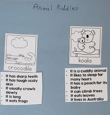 Animal riddles...the student matches clues about each animal to a picture of each animal.
