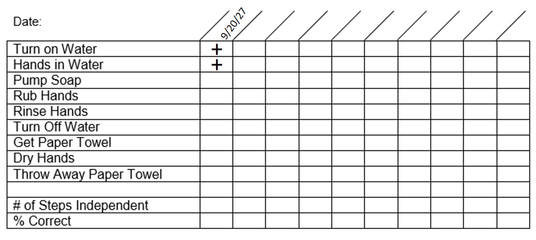 Image of the data sheet showing the first two steps completed independently.