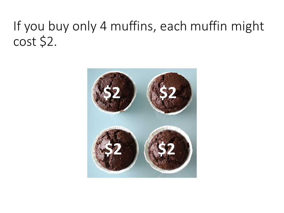 Sample page: if you buy only 4 muffins, each muffin might cost $2.
