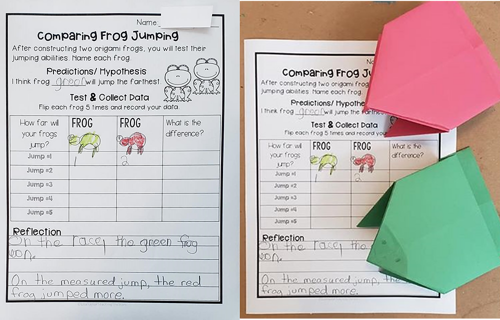 Data sheet for how far an origami frog can jump.