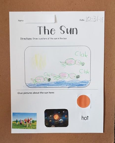 An image of one of the worksheets about the sun from TeachersPayTeachers.