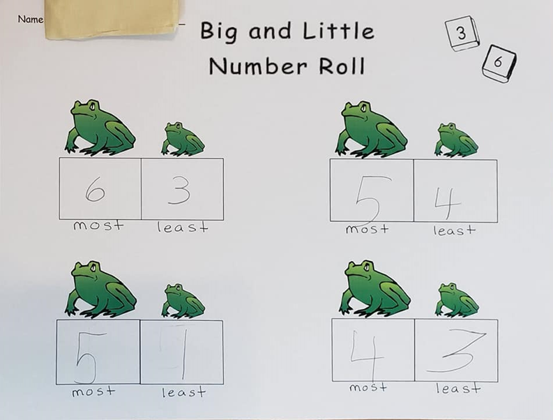 The student rolls two dice, writes them down the bigger number next to the bigger frog picture, and the smaller number next to the smaller frog picture.