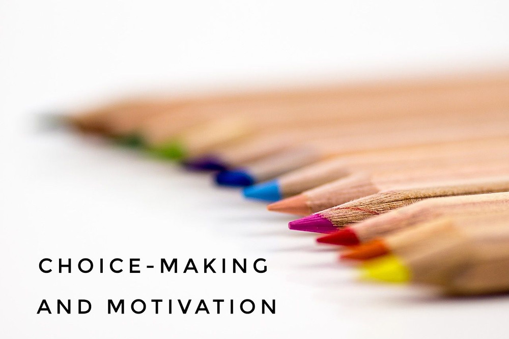 "An image of colored pencils with the blog post title, ""Choice-Making and Motivation"""