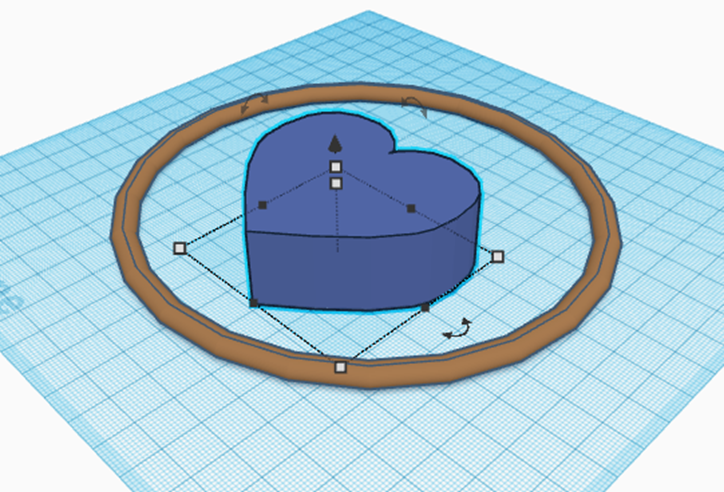 Model of a heart shape in TinkerCAD