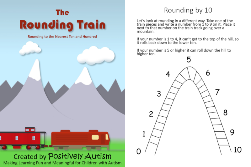"Two images: the first is of a train driving through the mountaions with the text, ""The Rounding Train: Rounding to the Nearest Ten and Hundred"". The second image is a picture of one of the worksheets, it has a mountain shaped train track (looks like a curved hill) with the numbers one through ten evenly spaced along the track. The number five is at the middle (top of the track)."