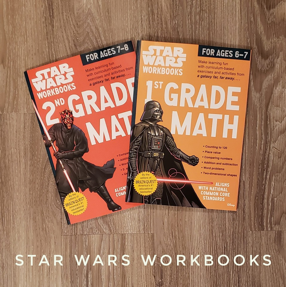 Photo of two Star Wars math workbooks.