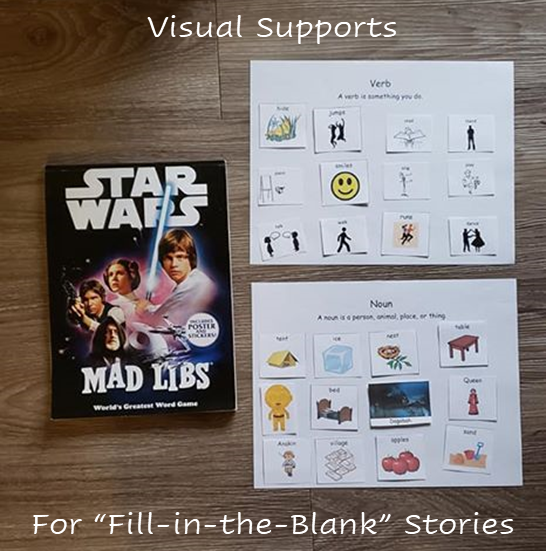 "An image that shows a ""Star Wars Mad Libs"" book next to two piece of paper. One paper says ""verbs"" and contains pictures representing different verbs. The other paper says ""nouns"" and has pictures of various nouns."
