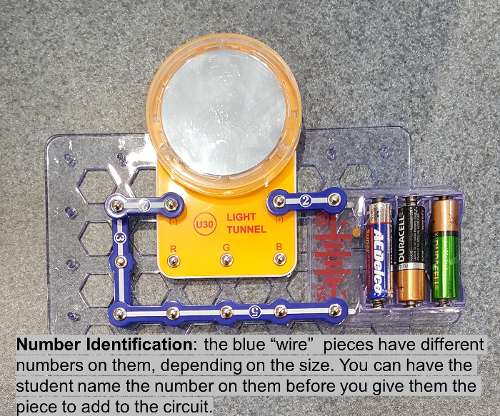 The blue wire pieces have different numbers on them, depending on the size. You can have the student name the number on them before you give them the piece to add to the circuit.